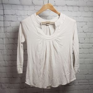 Lucky Brand Cream Horseshoe Neck Top Boho Hippie